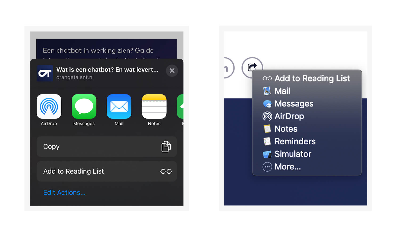 Web Share op iOS en Safari